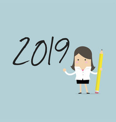 businesswoman use pencil to draw 2019 vector image