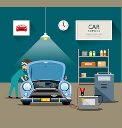 Car mechanic workers in blue car service vector