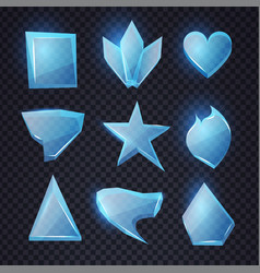 Cartoon blue glass banners set chrystal shapes vector
