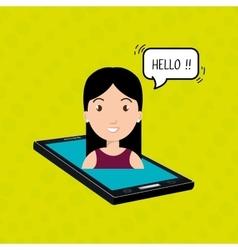 cellphone woman speech speak vector image