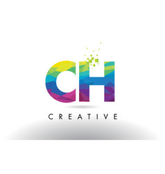 Ch c h colorful letter origami triangles design vector