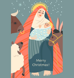 Christmas card in retro style with jesus and mary vector