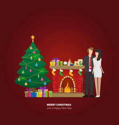 christmas fireplace with gifts socks and candles vector image