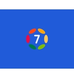 Color number 7 logo icon design Hub frame vector image
