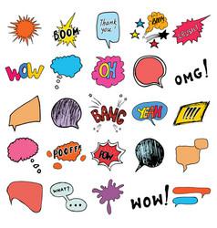 Comic book speech bubbles and cartoon sound vector