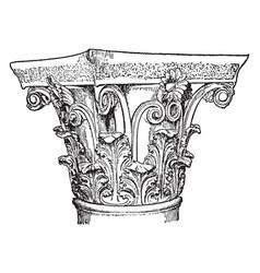 corinthian capital column vintage engraving vector image