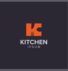 creative cooking tool kitchen logo letter k vector image