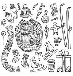 cute hand-drawn christmas and winter elements vector image
