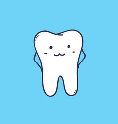 cute smiling molar tooth adorable mascot or funny vector image