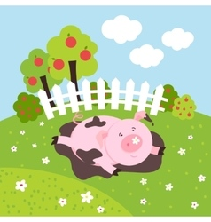 Cute smilling pig on a farm field vector image