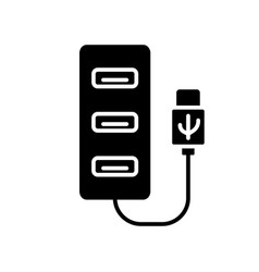 Cutout silhouette usb hub icon outline logo of vector