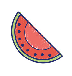 Delicious slice watermelon fruit with vitamins and vector