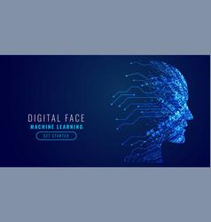 Digital technology face artificial intelligence vector