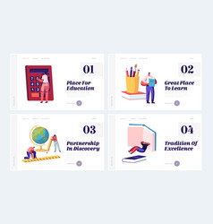 education concept website landing page set tiny vector image