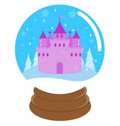 Fairy tale castle inside a snow globe vector