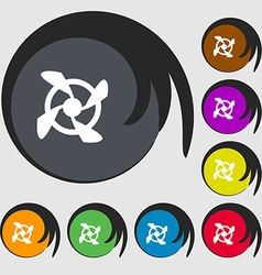 Fan Icon sign Symbols on eight colored buttons vector