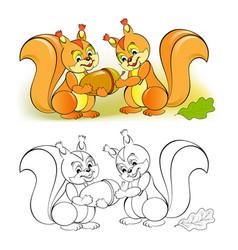 Fantasy couple cute squirrels giving each vector