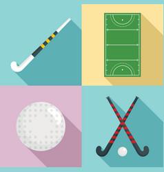field hockey icons set flat style vector image