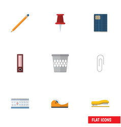 Flat icon stationery set of trashcan dossier vector