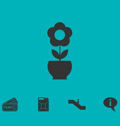 flower pot icon flat vector image