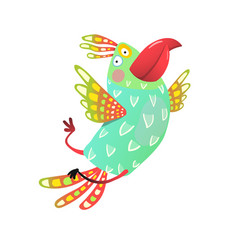 flying parrot cartoon vector image