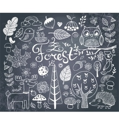 Forest design elements in doodle style vector