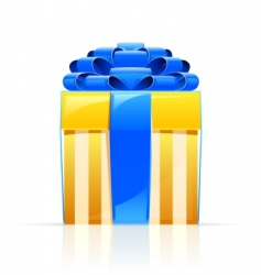 gift box with blue bow vector image vector image