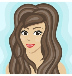 Girl with long wavy hair vector image