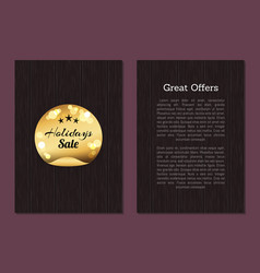 great offers holidays sale golden label on wood vector image
