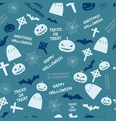 happy halloween blue seamless pattern vector image