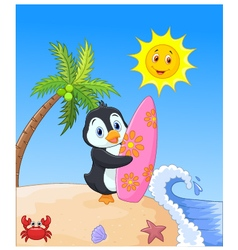 Happy penguin cartoon holding surfboard vector