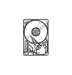 hard drive hand drawn outline doodle icon vector image