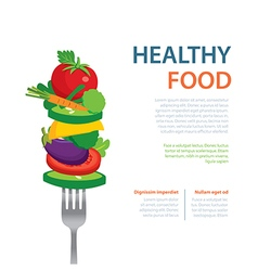 Healthy food on fork diet concept vector