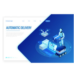 Isometric drone fast delivery goods in city vector