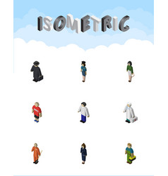 Isometric person set of businesswoman pedagogue vector