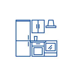kitchen wardrobe line icon concept kitchen vector image