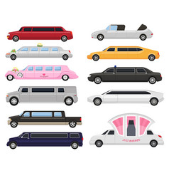 Limousine limo luxury car and retro auto vector