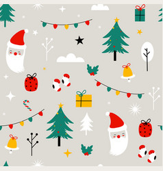 Merry christmas cute elements seamless pattern vector