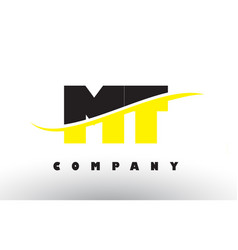 Mt m t black and yellow letter logo with swoosh vector