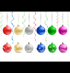 multicolored christmas baubles vector image