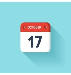 October 17 Isometric Calendar Icon With Shadow vector