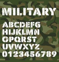 Old military alphabet bold letters and numbers on vector