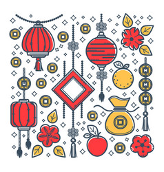 oriental culture chinese new year symbols luck vector image