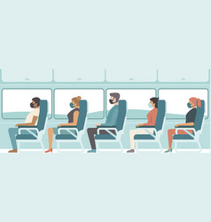 Passengers wearing protective medical masks vector