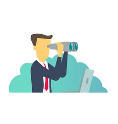 Person man looking through binoculars business vector