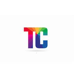 Rainbow colored alphabet combination letter tc t vector