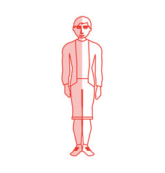 red silhouette shading cartoon full body man with vector image