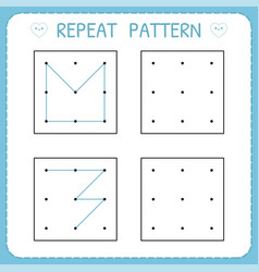 Repeat pattern working pages for kids worksheet vector
