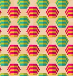 Retro fold striped hexagons in row vector