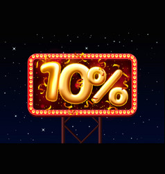 sale 10 off ballon number on night sky vector image